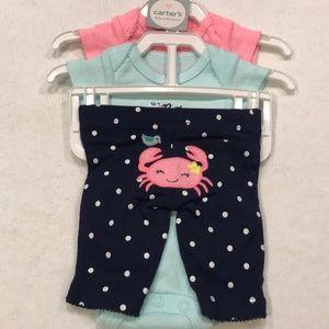 Carter's 3-piece girls set - Preemie - NWT